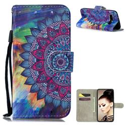 Oil Painting Mandala 3D Painted Leather Wallet Phone Case for Samsung Galaxy S10 (6.1 inch)