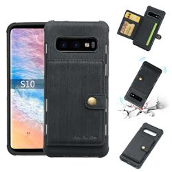 Brush Multi-function Leather Phone Case for Samsung Galaxy S10 (6.1 inch) - Black