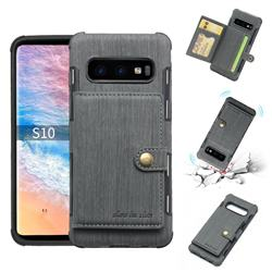 Brush Multi-function Leather Phone Case for Samsung Galaxy S10 (6.1 inch) - Gray
