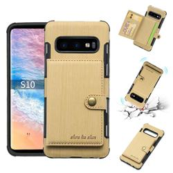 Brush Multi-function Leather Phone Case for Samsung Galaxy S10 (6.1 inch) - Golden