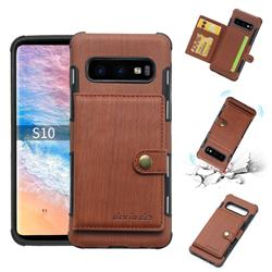 Brush Multi-function Leather Phone Case for Samsung Galaxy S10 (6.1 inch) - Brown