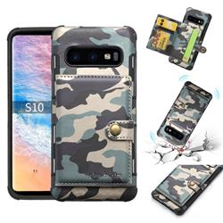 Camouflage Multi-function Leather Phone Case for Samsung Galaxy S10 (6.1 inch) - Gray