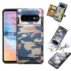 Camouflage Multi-function Leather Phone Case for Samsung Galaxy S10 (6.1 inch) - Blue