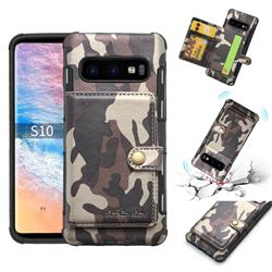 Camouflage Multi-function Leather Phone Case for Samsung Galaxy S10 (6.1 inch) - Coffee
