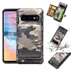 Camouflage Multi-function Leather Phone Case for Samsung Galaxy S10 (6.1 inch) - Purple