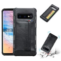 Luxury Shatter-resistant Leather Coated Card Phone Case for Samsung Galaxy S10 (6.1 inch) - Black