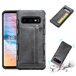 Luxury Shatter-resistant Leather Coated Card Phone Case for Samsung Galaxy S10 (6.1 inch) - Gray