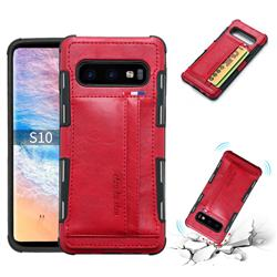Luxury Shatter-resistant Leather Coated Card Phone Case for Samsung Galaxy S10 (6.1 inch) - Red