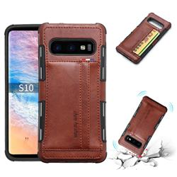Luxury Shatter-resistant Leather Coated Card Phone Case for Samsung Galaxy S10 (6.1 inch) - Brown