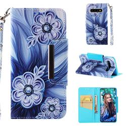 Button Flower Big Metal Buckle PU Leather Wallet Phone Case for Samsung Galaxy S10 (6.1 inch)
