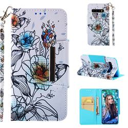Fotus Flower Big Metal Buckle PU Leather Wallet Phone Case for Samsung Galaxy S10 (6.1 inch)