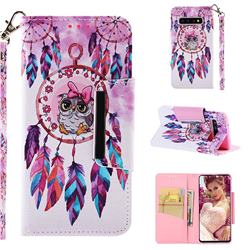 Owl Wind Chimes Big Metal Buckle PU Leather Wallet Phone Case for Samsung Galaxy S10 (6.1 inch)