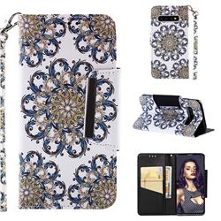 Phoenix Tail Big Metal Buckle PU Leather Wallet Phone Case for Samsung Galaxy S10 (6.1 inch)