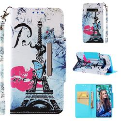 Lip Tower Big Metal Buckle PU Leather Wallet Phone Case for Samsung Galaxy S10 (6.1 inch)