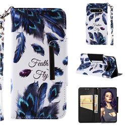 Peacock Feather Big Metal Buckle PU Leather Wallet Phone Case for Samsung Galaxy S10 (6.1 inch)