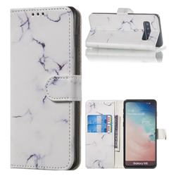 Soft White Marble PU Leather Wallet Case for Samsung Galaxy S10 (6.1 inch)