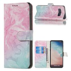 Pink Green Marble PU Leather Wallet Case for Samsung Galaxy S10 (6.1 inch)