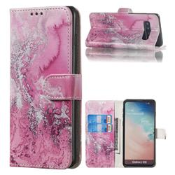 Pink Seawater PU Leather Wallet Case for Samsung Galaxy S10 (6.1 inch)