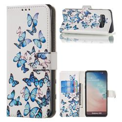 Blue Vivid Butterflies PU Leather Wallet Case for Samsung Galaxy S10 (6.1 inch)