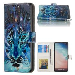 Ice Wolf 3D Relief Oil PU Leather Wallet Case for Samsung Galaxy S10 (6.1 inch)