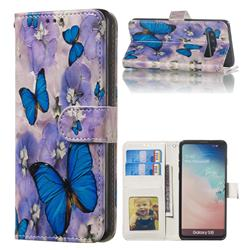 Purple Flowers Butterfly 3D Relief Oil PU Leather Wallet Case for Samsung Galaxy S10 (6.1 inch)