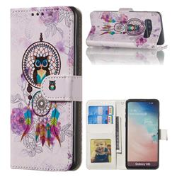 Wind Chimes Owl 3D Relief Oil PU Leather Wallet Case for Samsung Galaxy S10 (6.1 inch)