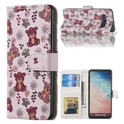 Cute Bear 3D Relief Oil PU Leather Wallet Case for Samsung Galaxy S10 (6.1 inch)