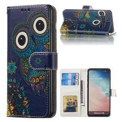 Folk Owl 3D Relief Oil PU Leather Wallet Case for Samsung Galaxy S10 (6.1 inch)