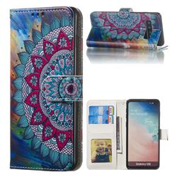 Mandala Flower 3D Relief Oil PU Leather Wallet Case for Samsung Galaxy S10 (6.1 inch)