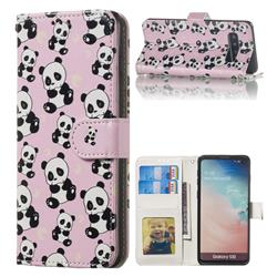 Cute Panda 3D Relief Oil PU Leather Wallet Case for Samsung Galaxy S10 (6.1 inch)