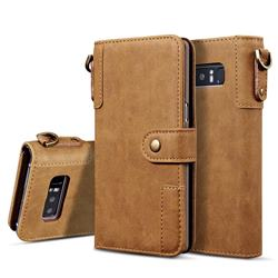 Retro Luxury Cowhide Leather Wallet Case for Samsung Galaxy S10 (6.1 inch) - Brown