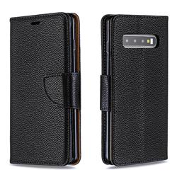 Classic Luxury Litchi Leather Phone Wallet Case for Samsung Galaxy S10 (6.1 inch) - Black