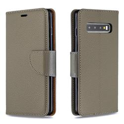 Classic Luxury Litchi Leather Phone Wallet Case for Samsung Galaxy S10 (6.1 inch) - Gray