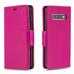 Classic Luxury Litchi Leather Phone Wallet Case for Samsung Galaxy S10 (6.1 inch) - Rose