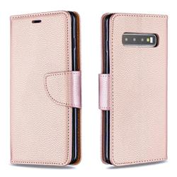 Classic Luxury Litchi Leather Phone Wallet Case for Samsung Galaxy S10 (6.1 inch) - Golden