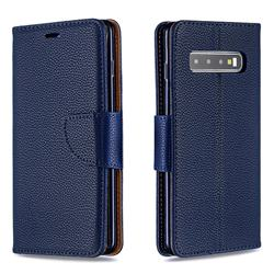 Classic Luxury Litchi Leather Phone Wallet Case for Samsung Galaxy S10 (6.1 inch) - Blue