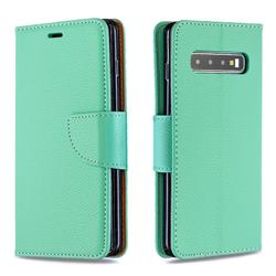 Classic Luxury Litchi Leather Phone Wallet Case for Samsung Galaxy S10 (6.1 inch) - Green
