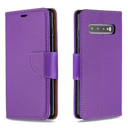 Classic Luxury Litchi Leather Phone Wallet Case for Samsung Galaxy S10 (6.1 inch) - Purple