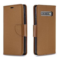 Classic Luxury Litchi Leather Phone Wallet Case for Samsung Galaxy S10 (6.1 inch) - Brown