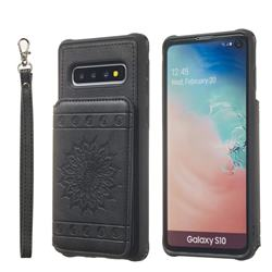 Luxury Embossing Sunflower Multifunction Leather Back Cover for Samsung Galaxy S10 (6.1 inch) - Black