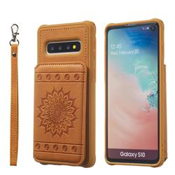 Luxury Embossing Sunflower Multifunction Leather Back Cover for Samsung Galaxy S10 (6.1 inch) - Brown