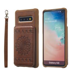 Luxury Embossing Sunflower Multifunction Leather Back Cover for Samsung Galaxy S10 (6.1 inch) - Coffee