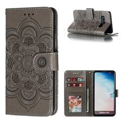 Intricate Embossing Datura Solar Leather Wallet Case for Samsung Galaxy S10 (6.1 inch) - Gray