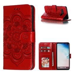 Intricate Embossing Datura Solar Leather Wallet Case for Samsung Galaxy S10 (6.1 inch) - Red