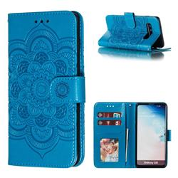 Intricate Embossing Datura Solar Leather Wallet Case for Samsung Galaxy S10 (6.1 inch) - Blue