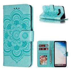 Intricate Embossing Datura Solar Leather Wallet Case for Samsung Galaxy S10 (6.1 inch) - Green