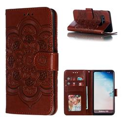 Intricate Embossing Datura Solar Leather Wallet Case for Samsung Galaxy S10 (6.1 inch) - Brown