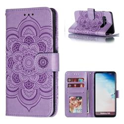 Intricate Embossing Datura Solar Leather Wallet Case for Samsung Galaxy S10 (6.1 inch) - Purple