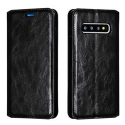 Retro Slim Magnetic Crazy Horse PU Leather Wallet Case for Samsung Galaxy S10 (6.1 inch) - Black