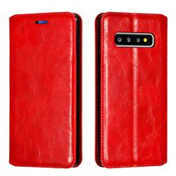 Retro Slim Magnetic Crazy Horse PU Leather Wallet Case for Samsung Galaxy S10 (6.1 inch) - Red
